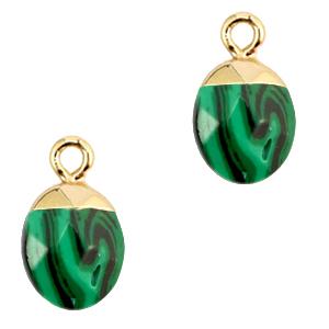 Natuursteen hanger green gold