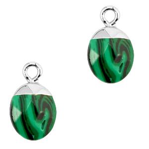 Natuursteen hanger green silver