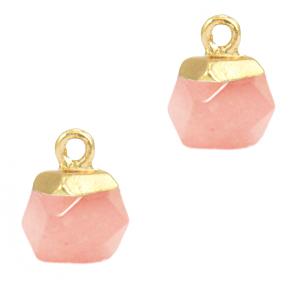 Natuursteen hanger hexagon blossom pink gold