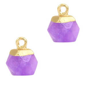 Natuursteen hanger hexagon purple gold