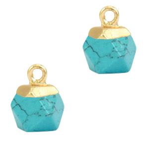 Natuursteen hanger hexagon turquoise gold