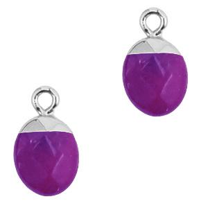 Natuursteen hanger purple silver
