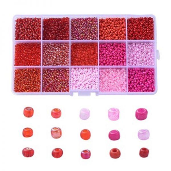 Box 2mm rocailles roze en rood