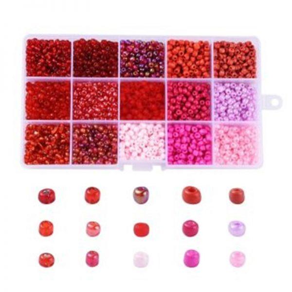 Box 4mm rocailles roze en rood
