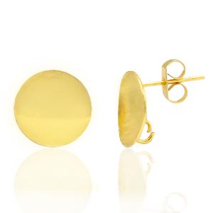 Brass oorbellen rond 12mm met oog achterkant goud