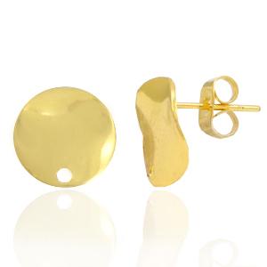 Brass oorbellen rond 12mm met oog goud