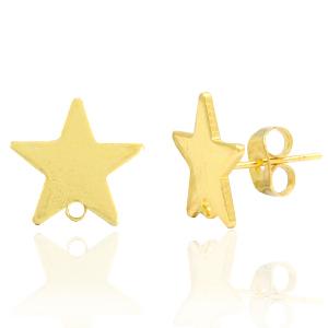 Brass oorbellen ster met oog goud