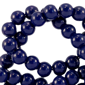 Glaskralen 4mm dark sodalite blue