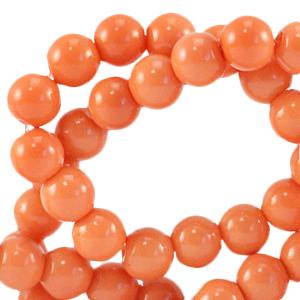 Glaskralen 6mm coral nectarine orange
