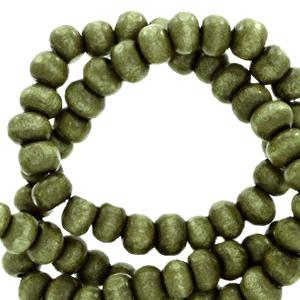 Nature houten kralen 6mm olive green