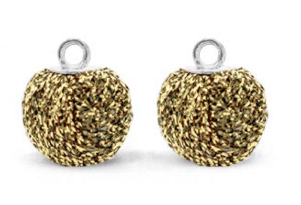 Pompom bedel glitter 12mm gold-anthracite silver