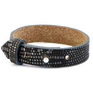 Cuoio armband 15mm anthracite silver