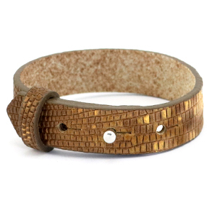 Cuoio armband 15mm tabacco brown gold