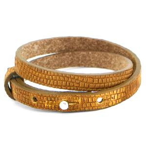 Cuoio armband croco 8mm golden harvest dubbel