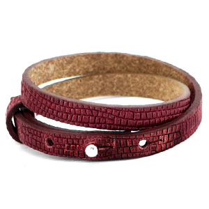 Cuoio armband croco 8mm magenta purple dubbel