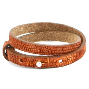 Cuoio armband croco 8mm samba orange dubbel
