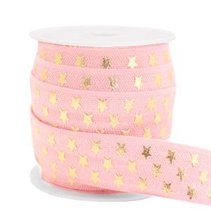 Elastisch Ibiza lint 15mm sterren vintage pink gold
