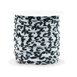 Elastisch Ibiza lint 4mm leopard black white