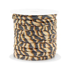 Elastisch Ibiza lint 4mm tiger beige brown