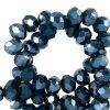 Facet kralen 4x3mm dephts blue pearl shine
