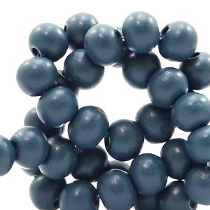 Houten kralen 6mm aegean blue