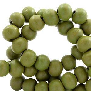 Houten kralen 6mm green moss