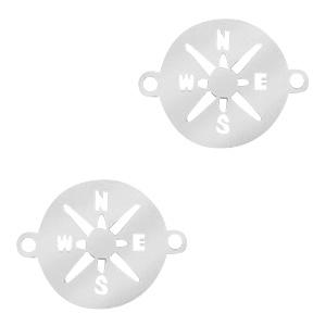 Stainless steel tussenstuk kompas zilver