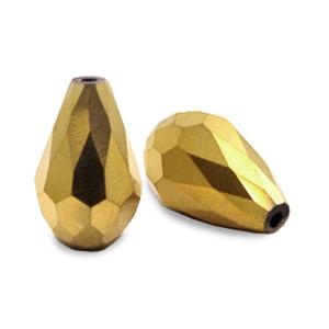 Top facet kraal druppel 12x18mm goudbrons