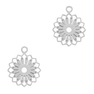 Bohemian hanger bloem zilver
