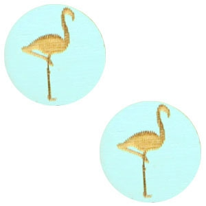 Cabochon hout 12mm flamingo turquoise