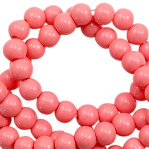 Glaskralen 8mm coral pink