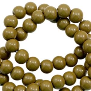 Glaskralen 8mm dark olive green