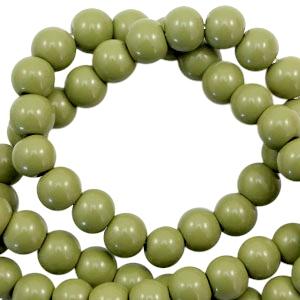 Glaskralen 8mm olive green