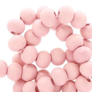 Houten kralen 6mm light coral pink