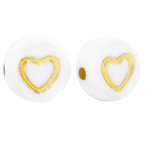 Letterkraal hart wit goud