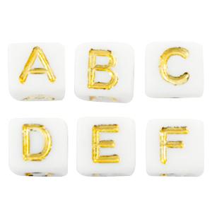 Letterkralen mix wit goud
