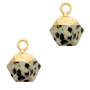Natuursteen hanger hexagon greige gold