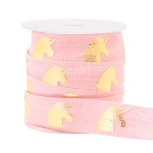 Elastisch Ibiza lint 15mm unicorn light pink gold
