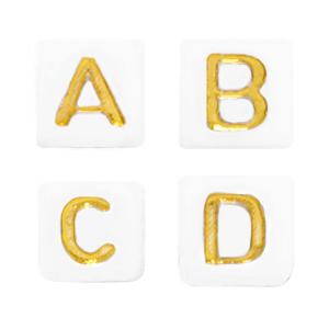 Letterkralen 6x6mm mix wit goud