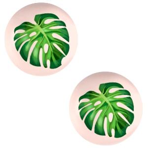 Cabochon 20mm tropical palm creamy peach