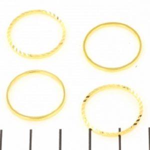 Dichte ring rond met relief 20mm goud