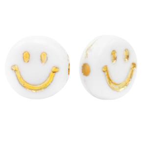 Kraal smiley wit goud