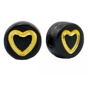 Letterkraal hart zwart goud