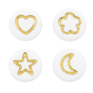 Letterkralen symbolen mix wit goud