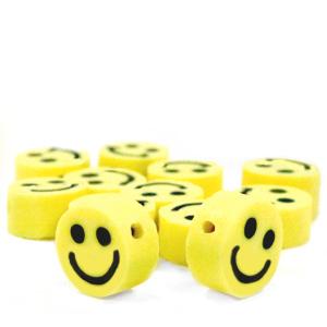 Polymeer kralen smiley geel