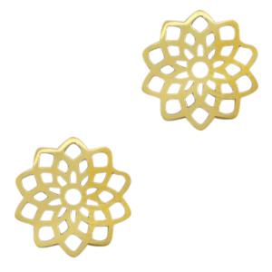Stainless steel bedel tussenstuk bloem goud