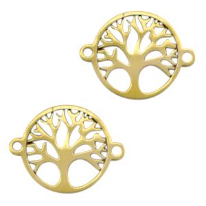 Stainless steel tussenstuk levensboom goud