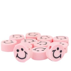 Polymeer kralen smiley lichtroze