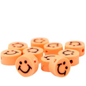 Polymeer kralen smiley oranje