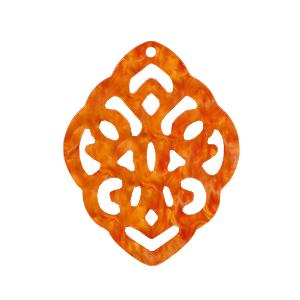 Resin hanger barok ruit flame orange